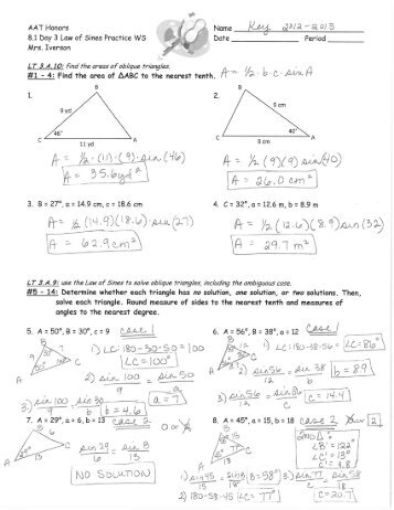 6 1 Practice Worksheet Law Of Sines Kidz Activities