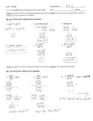 7.1 - 7.2 Simplify and Verify Trig Identities Practice