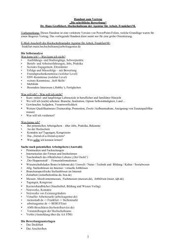 handout zum vortrag die schriftliche bewerbung agentur fr - Schriftliche Bewerbung