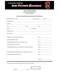 Parent Booster Club Forms - Lady Panthers Basketball