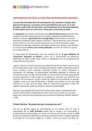 comerJapones.com lanza su nueva Guía de Restaurantes ... - Cítric
