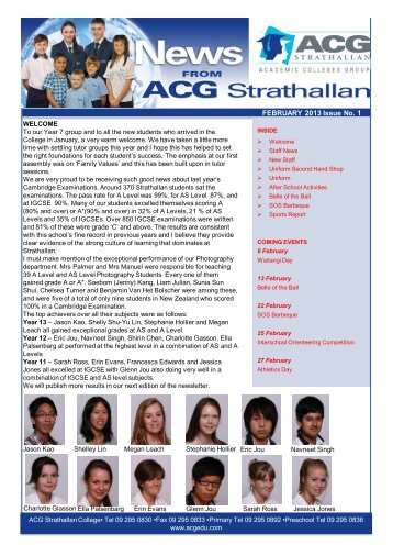 FEBRUARY 2013 Issue No. 1 - The Academic Colleges Group