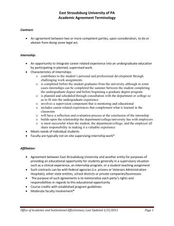 East Stroudsburg University of PA Academic Agreement Terminology