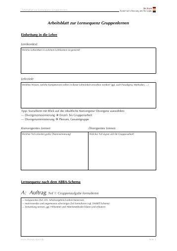 Arbeitsblatt zur kompetenzorientierten Didaktik - Thomas Reyer