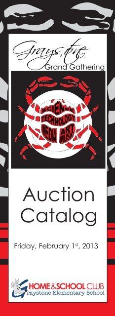 auction catalog cover - Graystone Home & School Club