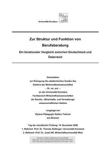 Zur Struktur und Funktion von Berufsberatung. Ein binationaler ...