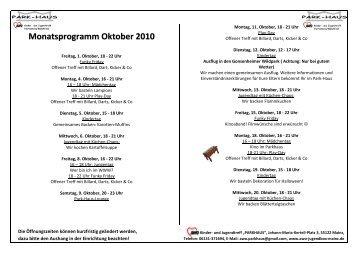 Monatsprogramm Oktober 2010 - stillger-schaefer.de