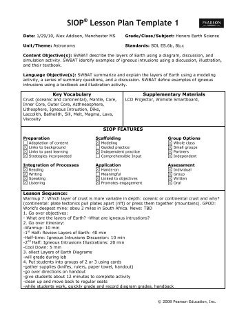 sioplesson plan template 1 act esl