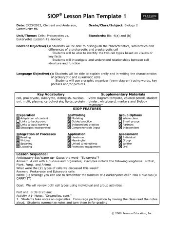 SIOP Lesson Plan Template - Siop lesson plan template 2