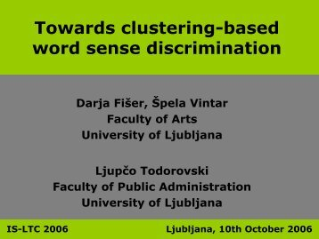 Towards clustering-based word sense discrimination - Lugos
