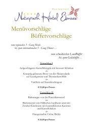 Menüvorschläge Büffetvorschläge - Naturpark Hotel Ebnisee