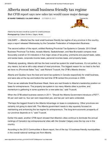 Alberta most small business friendly tax regime - Red Deer ...