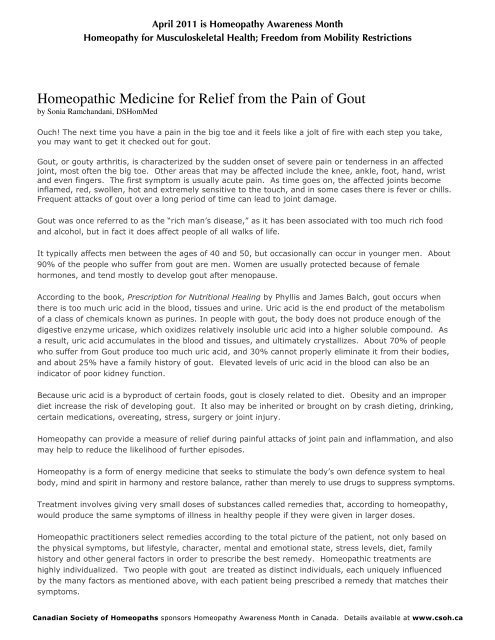 Homeopathic Medicine for Relief from the Pain of Gout