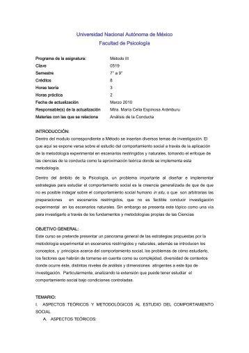 Método III - Facultad de Psicología - Universidad Nacional ...