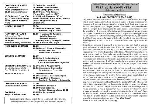 Avvisi della 12^ settimana dal 17 al 24 mar. 2013 - Parrocchia Bariano