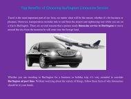 Top Benefits of Choosing Burlington Limousine Service
