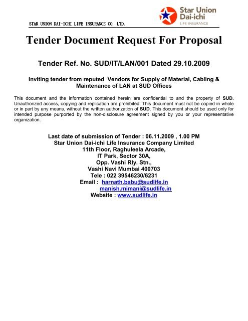 Tender Document Reques Nder Document Request For Proposal