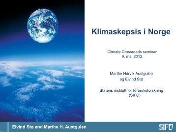 Climate Crossroads seminar 9.mai 2012 - SIFO