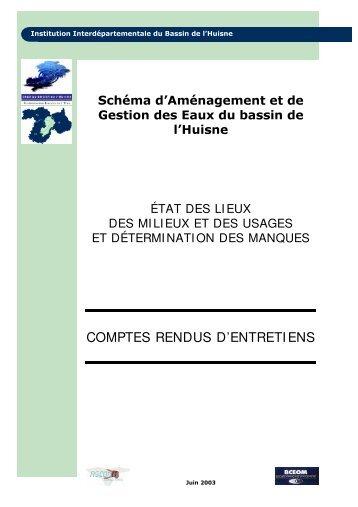 COMPTES RENDUS D'ENTRETIENS - (SAGE) du bassin de l'Huisne