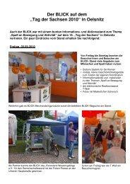 """Der BLICK auf dem """"Tag der Sachsen 2010"""" in Oelsnitz"""