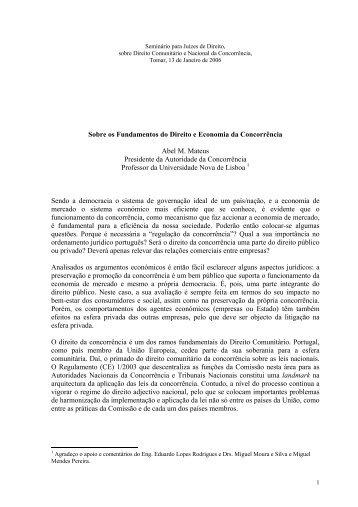 Sobre os Fundamentos do Direito e Economia da Concorrência ...