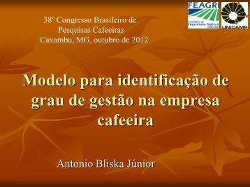 Modelo para identificação de grau de gestão na empresa cafeeira