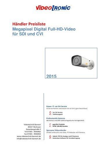 Full HD  CVI und SDI Händler Preisliste 2015 gültig ab 01.05.15