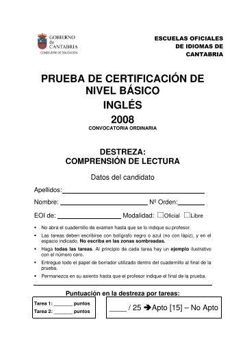 prueba de certificación de nivel básico inglés 2008 - Escuela Oficial ...