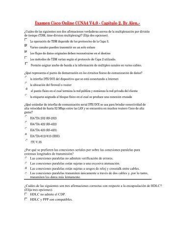 Examen Cisco Online CCNA4 V4.0 - Capitulo 2. By Alen.-