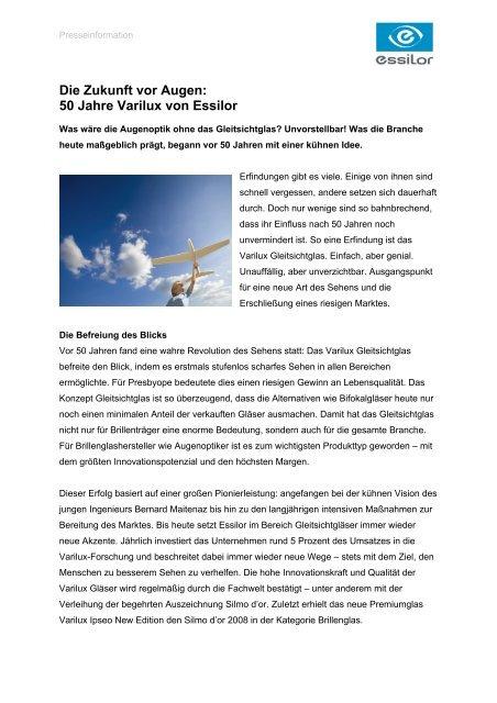 4ef6a14e725 Die Zukunft vor Augen  50 Jahre Varilux von Essilor - Essilor GmbH