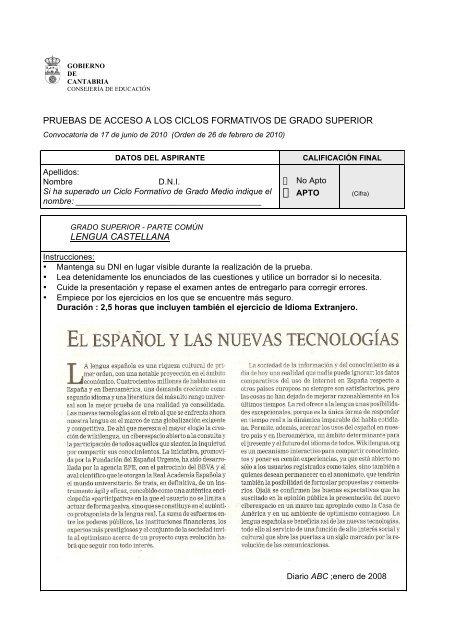 Pruebas De Acceso A Los Ciclos Educantabria