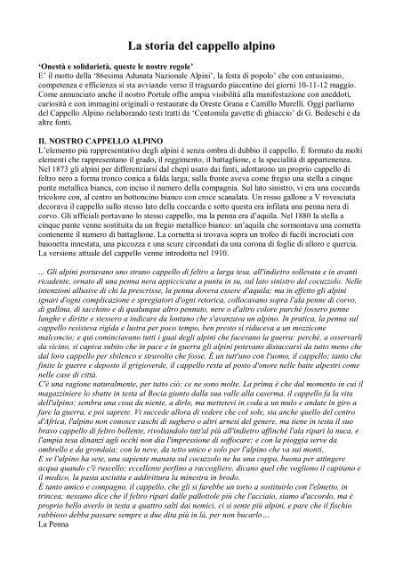 La storia del cappello alpino - Provincia solidale b60e15964bbe