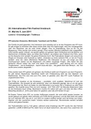 20. Internationales Film Festival Innsbruck 31. Mai bis 5. Juni 2011