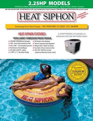 Heat Siphon Swimming Pool Heat Pumps - 2.25HP ... - Olympic Pools