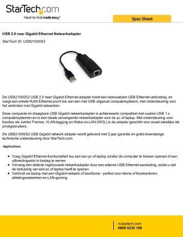 USB 2.0 naar Gigabit Ethernet Netwerkadapter StarTech ID ...