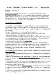 REPORT INCONTRI TERRITORIALI APS ... - Provincia solidale