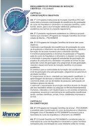REGULAMENTO DO PROGRAMA DE INICIAÇÃO ... - Unimar