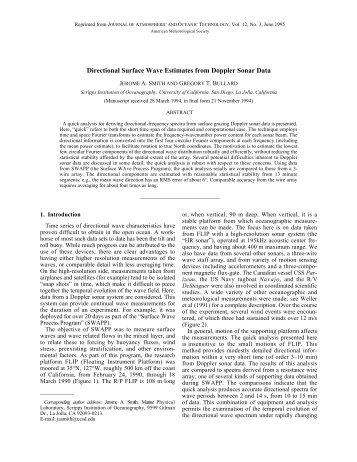 Directional Surface Wave Estimates from Doppler Sonar Data, (pdf ...