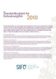 Standardbudsjett for forbruksutgifter 2010 - SIFO