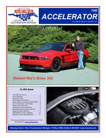 The Accelerator - Mustang Owners Club of Southeastern Michigan