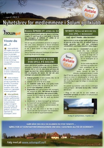 Nyhetsbrev 27. april 2013 - Solum golfklubb