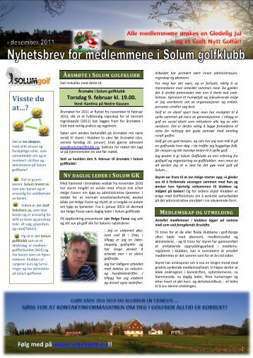 Nyhetsbrev 18. desember 2011 - Solum golfklubb
