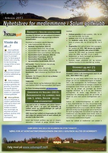 Nyhetsbrev 28. februar 2013 - Solum golfklubb
