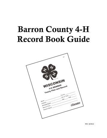 Barron County 4-H Record Book Guide - University of Wisconsin ...
