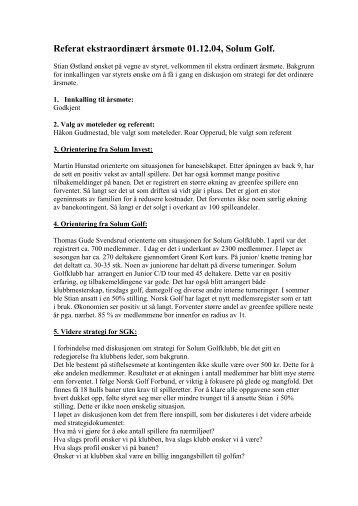 Årsmøtereferat - 1.12.2004 - Solum golfklubb