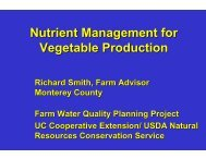 Nutrient Management for Vegetable Production - Monterey County