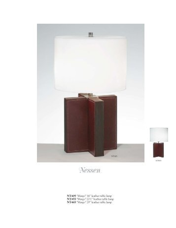 "NT405 ""Margo"" 14"" leather table lamp NT455 ... - Nessen Lighting"