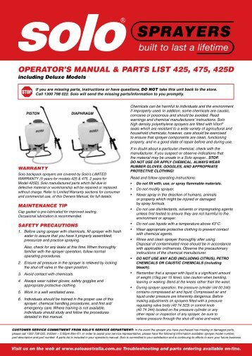 Download Owners Manual & Spare Parts List PDF - Outdoor Power