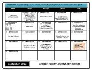 GEORGE ELLIOT SECONDARY SCHOOL September 2013