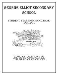 Year End Student Handbook June 2013 - George Elliot Secondary